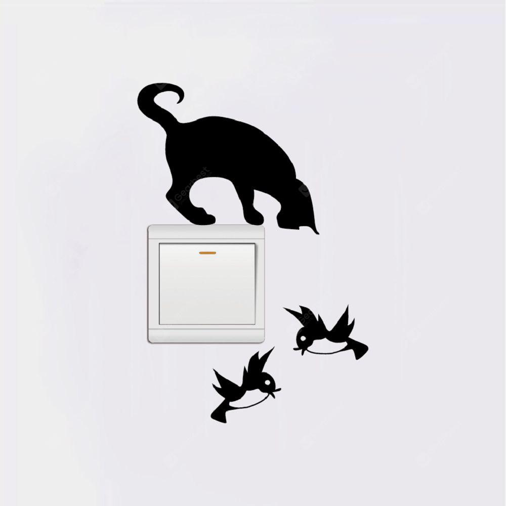 Cat-125 The Cat Catches The Birds Light Switch Sticker Adesivo divertente da parete in vinile per animali