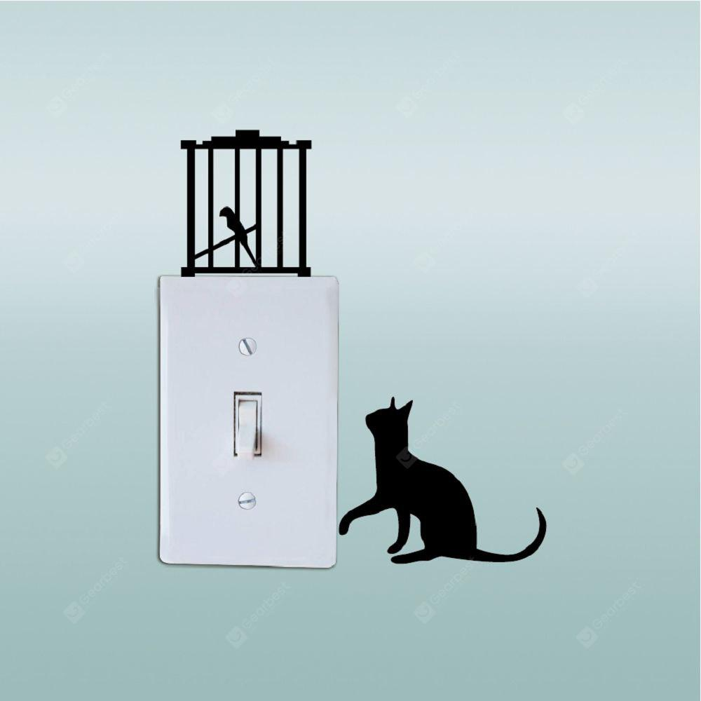 Cat-144 Naughty Kitten And Bird Switch Sticker Adesivo divertente da parete in vinile per gatti