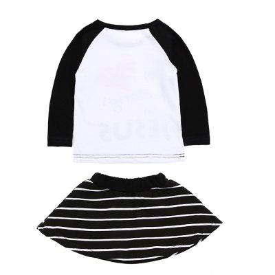 SOSOCOER Kids Girls Clothes Set Long Sleeved Letter of Love T-Shirt + Striped Love Skirt Two PiecesGirls clothing sets<br>SOSOCOER Kids Girls Clothes Set Long Sleeved Letter of Love T-Shirt + Striped Love Skirt Two Pieces<br><br>Brand: SOSOCOER<br>Collar: Round Neck<br>Material: Cotton<br>Package Contents: 1 x T-shirt, 1 x Dress<br>Pattern Type: Letter<br>Shirt Length: Regular<br>Sleeve Length: Full<br>Style: Personality<br>Weight: 0.1600kg