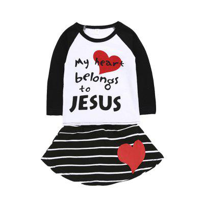 SOSOCOER Kids Girls Clothes Set Long Sleeved Letter of Love T-Shirt + Striped Love Skirt Two Pieces