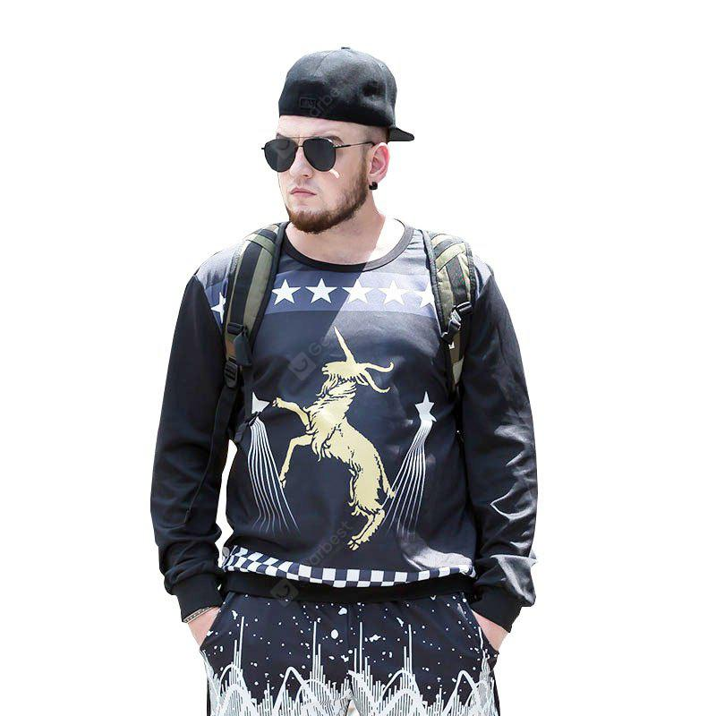 Plus Size Round Neck Men'S Sweatshirt PCW70068A