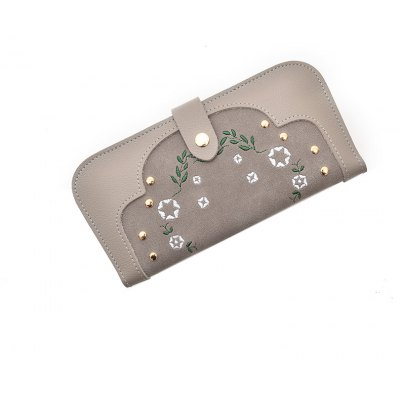 Fashion Women's Stitching Embroidered  Purse Elegant Ladies Rivets Embroidery Clutch