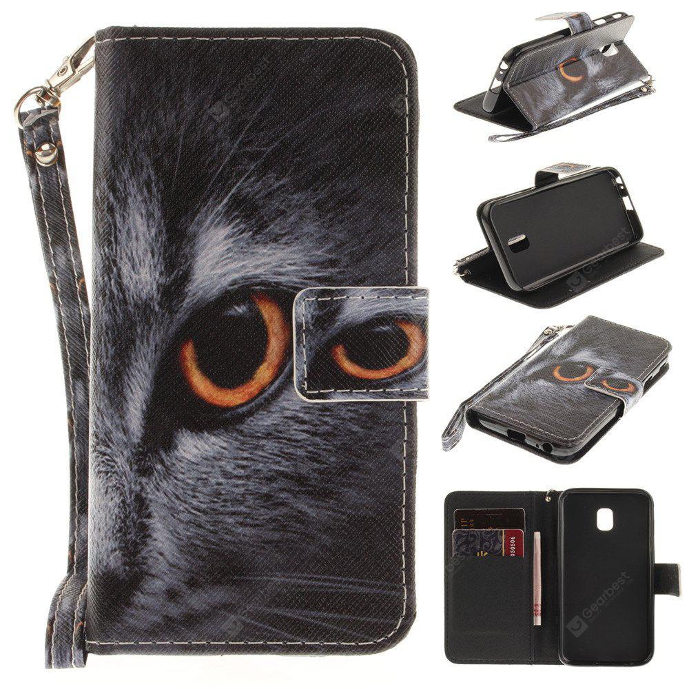 Cover Case for Samsung Galaxy J3 2017 J330 Half Face of A Cat PU+TPU Leather with Stand and Card Slots Magnetic Closure