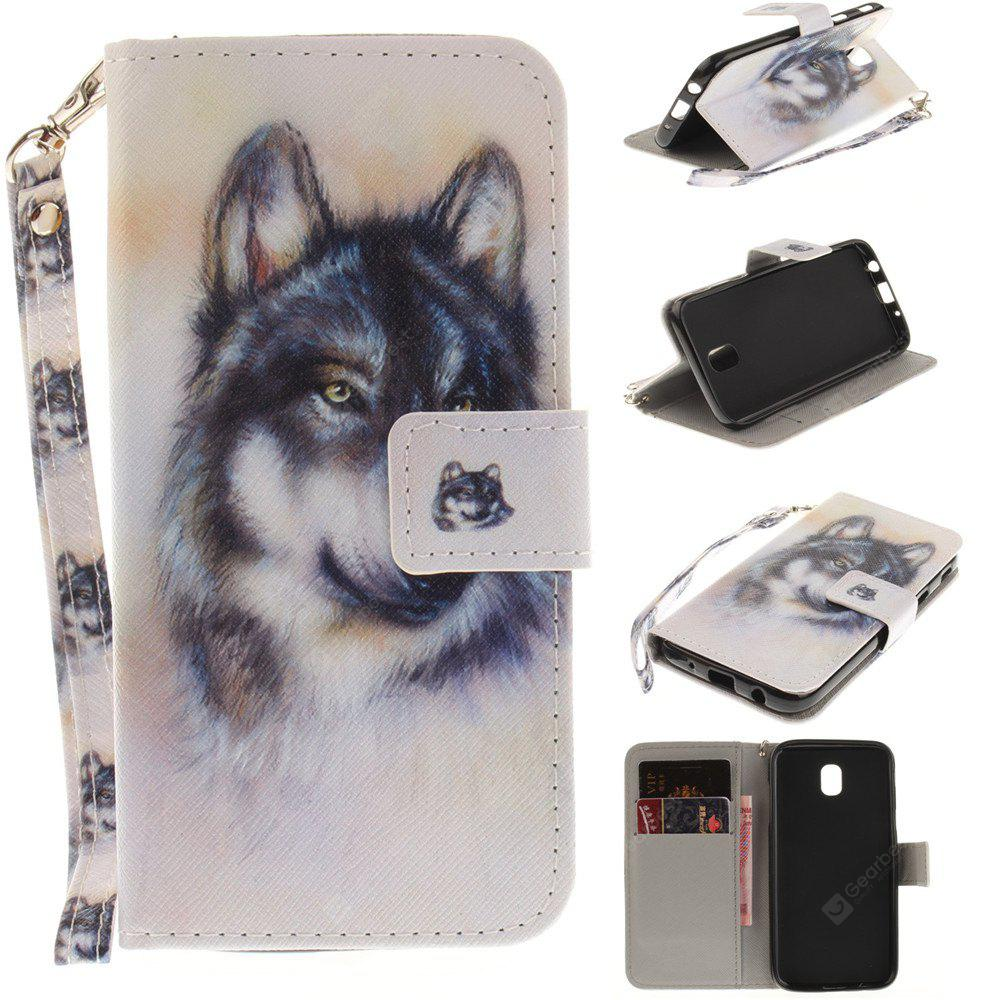 Cover Case for Samsung Galaxy J5 2017 J530 Wolf PU+TPU Leather with Stand and Card Slots Magnetic Closure