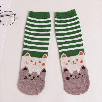 Female Socks Cotton Boots Cat Lovely Cartoon Color Striped Socks Girl Sexy