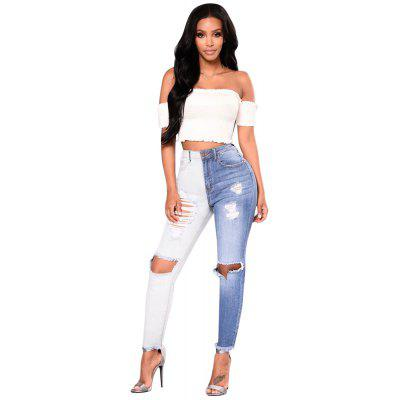 Blue and White Patchwork Holes Jeans Feet Pants Female