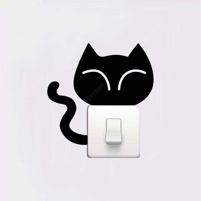 DSU Big Head Cat Light Switch Sticker Cartoon Animal Vinyl Wall Sticker for Kids Room