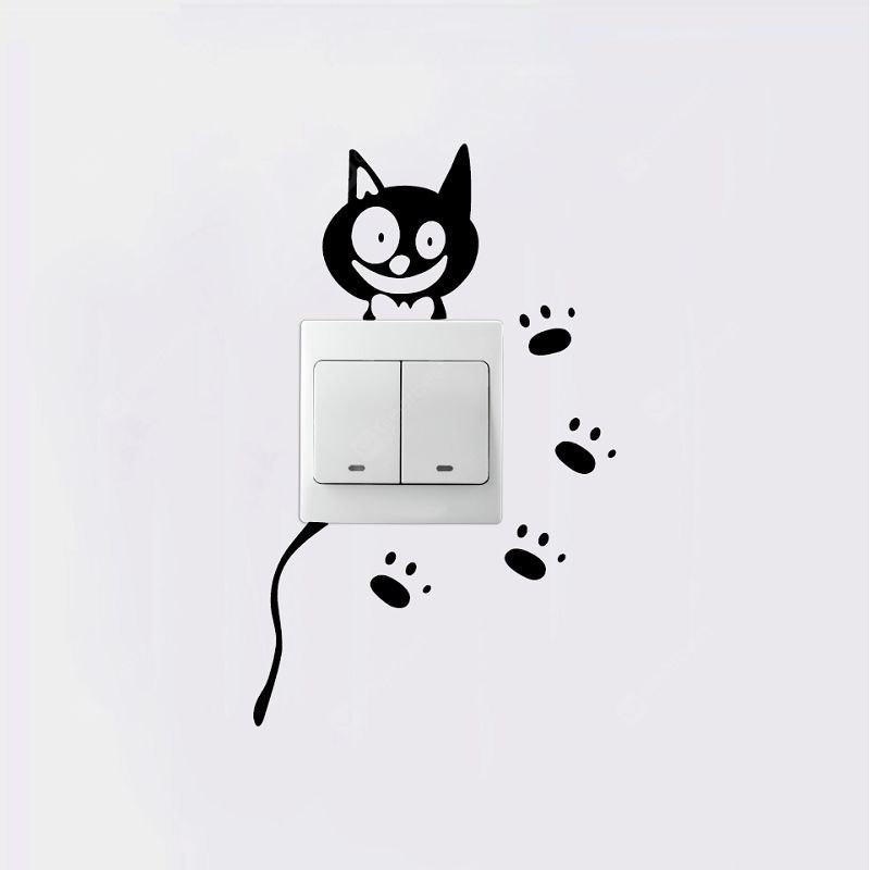 DSU Cartoon Cat Light Switch Sticker Creative Animal Vinyl Wall Sticker for Kids Room