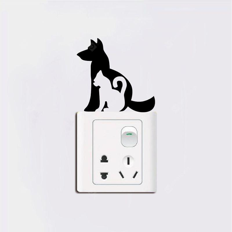 DSU Creative Cat & Dog Light Switch Sticker Cartoon Animal Vinyl Wall Stickers