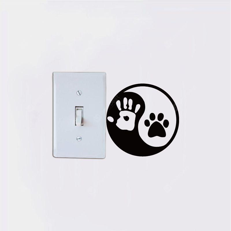 Adesivo DSU Creative Yin e Yang Cat Dog Footprint per la camera da letto