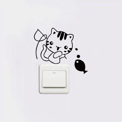 DSU Cute Kitten Fishing Switch Sticker Adesivo murale in vinile per gatti