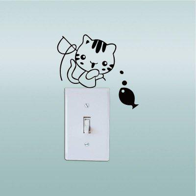 DSU  Cute Kitten Fishing Switch Sticker Creative Cartoon Cat Vinyl Wall StickerWall Stickers<br>DSU  Cute Kitten Fishing Switch Sticker Creative Cartoon Cat Vinyl Wall Sticker<br><br>Brand: DSU<br>Function: Light Switch Stickers<br>Material: Vinyl(PVC)<br>Package Contents: 1 x Wall Sticker<br>Package size (L x W x H): 12.00 x 3.00 x 3.00 cm / 4.72 x 1.18 x 1.18 inches<br>Package weight: 0.0600 kg<br>Product size (L x W x H): 14.00 x 11.00 x 0.10 cm / 5.51 x 4.33 x 0.04 inches<br>Product weight: 0.0300 kg<br>Quantity: 1<br>Subjects: Fashion,Others<br>Suitable Space: Living Room,Bedroom,Dining Room<br>Type: Plane Wall Sticker