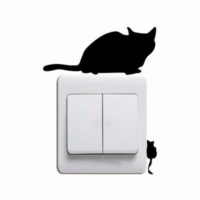 DSU Funny Mouse e Cat Light Switch Sticker Creativo Cartoon Kitten Vinile Decalcomania della parete
