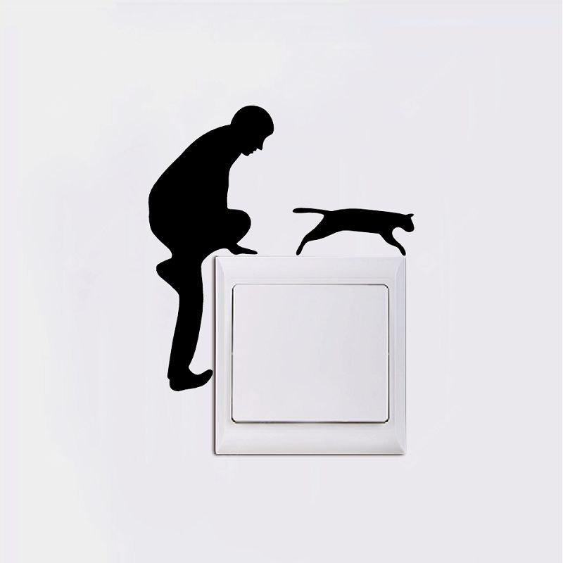 DSU Men With Cat Light Switch Sticker Adesivo da parete in vinile per animali