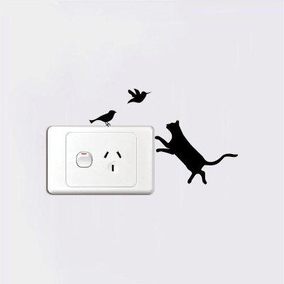DSU  Naughty Cat Series Switch Sticker Cute Kitty Love to Chase Birds Cartoon Vinyl WallWall Stickers<br>DSU  Naughty Cat Series Switch Sticker Cute Kitty Love to Chase Birds Cartoon Vinyl Wall<br><br>Brand: DSU<br>Function: Light Switch Stickers, Decorative Wall Sticker, 3D Effect<br>Material: Vinyl(PVC)<br>Package Contents: 1 x Wall Sticker<br>Package size (L x W x H): 10.00 x 3.00 x 3.00 cm / 3.94 x 1.18 x 1.18 inches<br>Package weight: 0.0600 kg<br>Product size (L x W x H): 14.00 x 8.00 x 0.10 cm / 5.51 x 3.15 x 0.04 inches<br>Product weight: 0.0300 kg<br>Quantity: 1<br>Subjects: Fashion,Others<br>Suitable Space: Living Room,Bedroom<br>Type: Plane Wall Sticker