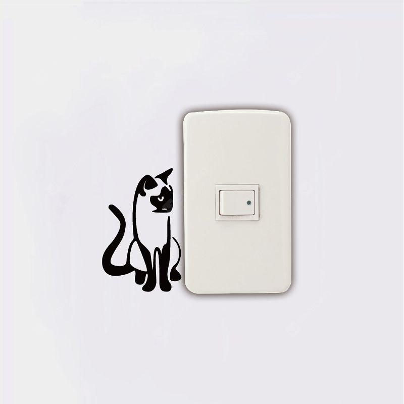 DSU Siamese Cat Switch Sticker Creativo Cartoon Animal Silhouette Adesivo da parete in vinile