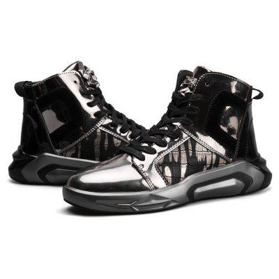 "Fashion Men Personality Sport High Top Outdoor Shoes Flats Leisure Casual SneakersMen's Sneakers<br>Fashion Men Personality Sport High Top Outdoor Shoes Flats Leisure Casual Sneakers<br><br>Boot Height: Ankle<br>Boot Type: Fashion Boots<br>Closure Type: Slip-On<br>Embellishment: None<br>Gender: For Men<br>Heel Hight: Flat(0-0.5"")<br>Heel Type: Low Heel<br>Outsole Material: Rubber<br>Package Contents: 1?Shoes(pair)<br>Pattern Type: Solid<br>Season: Summer, Winter, Spring/Fall<br>Shoe Width: Medium(B/M)<br>Toe Shape: Round Toe<br>Upper Material: PU<br>Weight: 1.2000kg"
