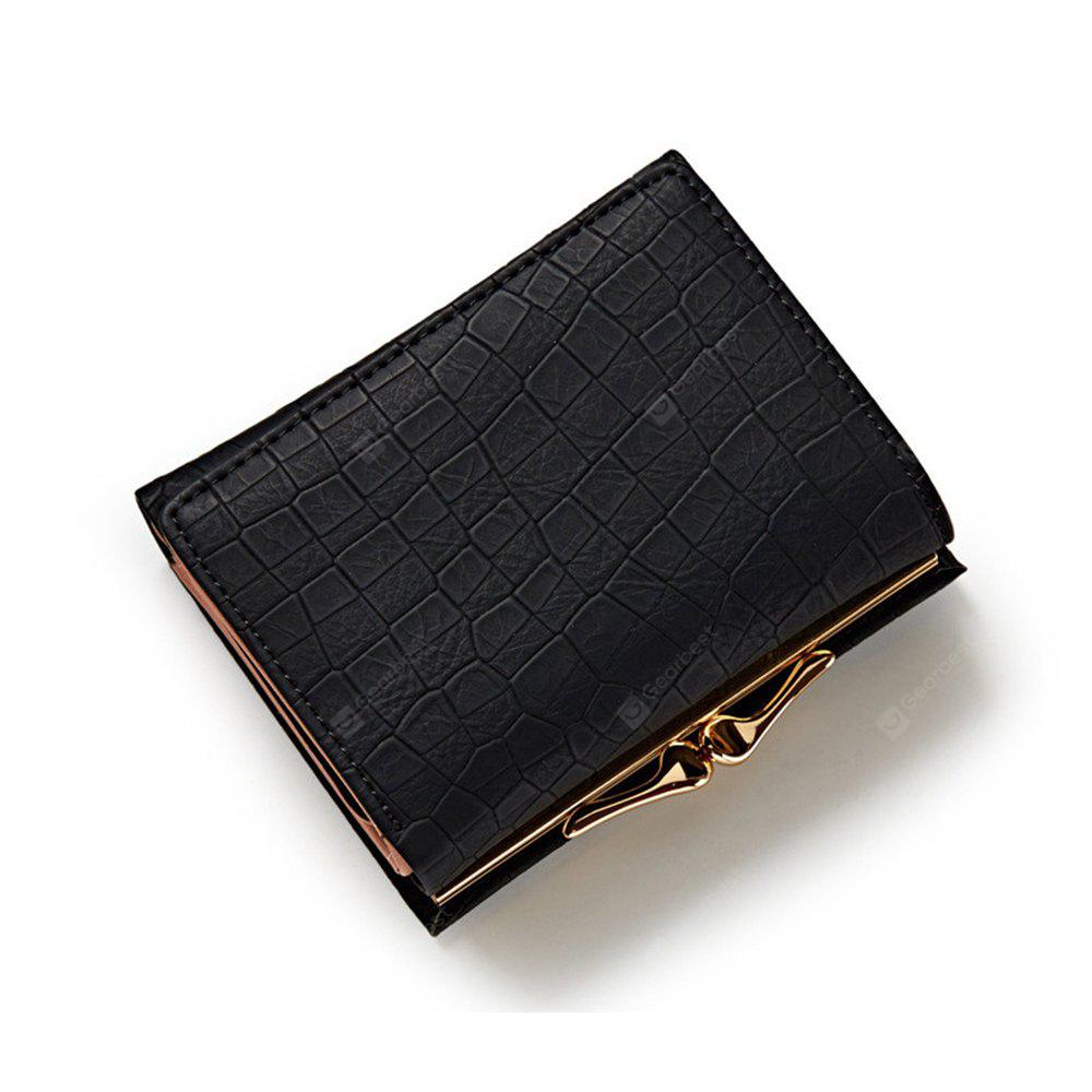Three Fold PU Leather Wallet Women Clutch Coin Purse Card Hold Cash Bags Hasp Lock Short Wallets BLACK