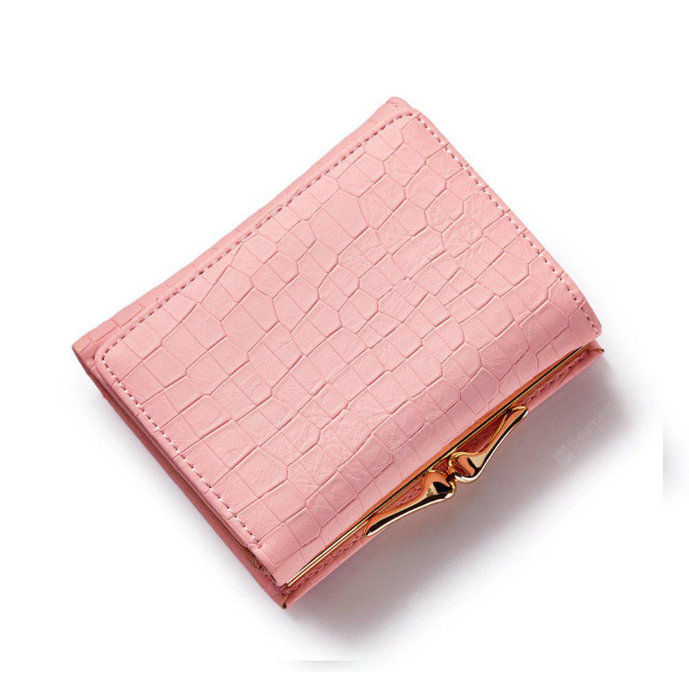Three Fold PU Leather Wallet Women Clutch Coin Purse Card Hold Cash Bags Hasp Lock Short Wallets PINK
