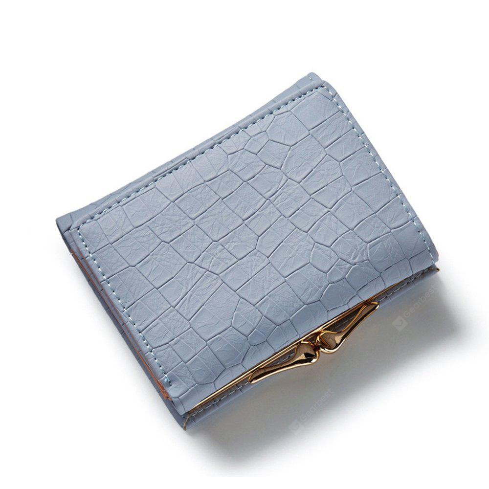 Three Fold PU Leather Wallet Women Clutch Coin Purse Card Hold Cash Bags Hasp Lock Short Wallets - GRAY