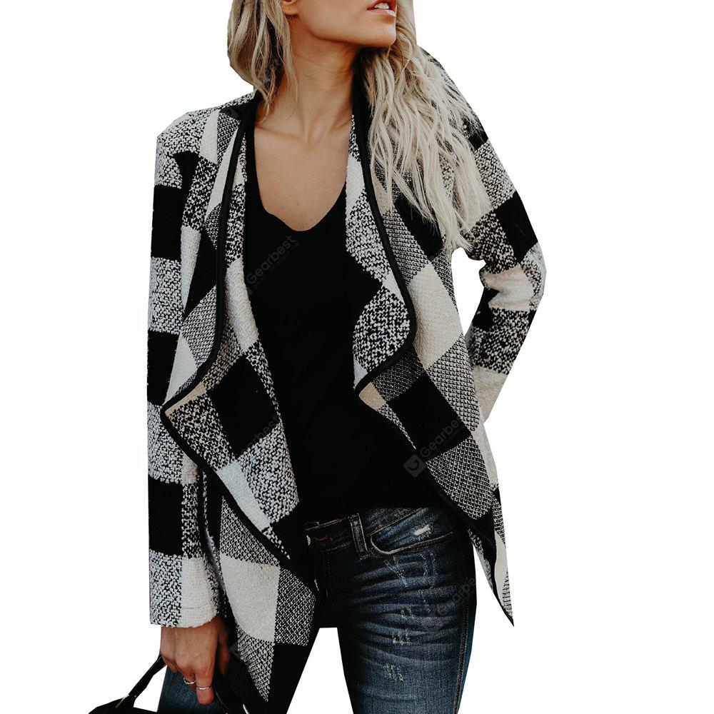 Lapel Plaid Slim Laine Manteau