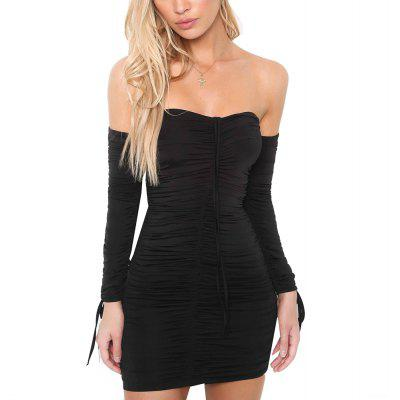Off Shoulder Sexy Long Sleeve Ruched Mini Dress