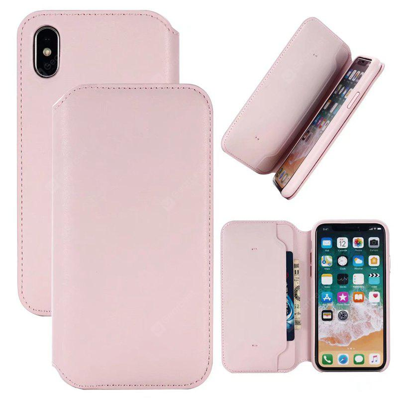 Cover Case per iPhone X Pure Color Microgroove Full Package Leather