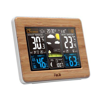 FanJu FJ3365 Weather Station Color Forecast with Alert | Temperature | Humidity | Barometer | Alarm | Moon phase |Clocks<br>FanJu FJ3365 Weather Station Color Forecast with Alert | Temperature | Humidity | Barometer | Alarm | Moon phase |<br><br>Battery Quantity: 2<br>Battery Type: AA<br>Brand: FanJu<br>Color: Others<br>Material: Plastic<br>Model: FJ3365WOOD<br>Package Contents: 1 x color weather station, 1 x wireless outdoor sensor, 1 x  power adapter, 1 x user manual<br>Package Quantity: 1<br>Package size (L x W x H): 17.00 x 8.00 x 13.00 cm / 6.69 x 3.15 x 5.12 inches<br>Package weight: 0.6000 kg<br>Powered by: DC Adapter or Battery<br>Product size (L x W x H): 16.50 x 5.50 x 12.50 cm / 6.5 x 2.17 x 4.92 inches<br>Product weight: 0.6000 kg<br>Shape: Rectangular<br>Style: Fashion<br>Theme: Others<br>Time Display: Digital<br>Type: Alarm Clock