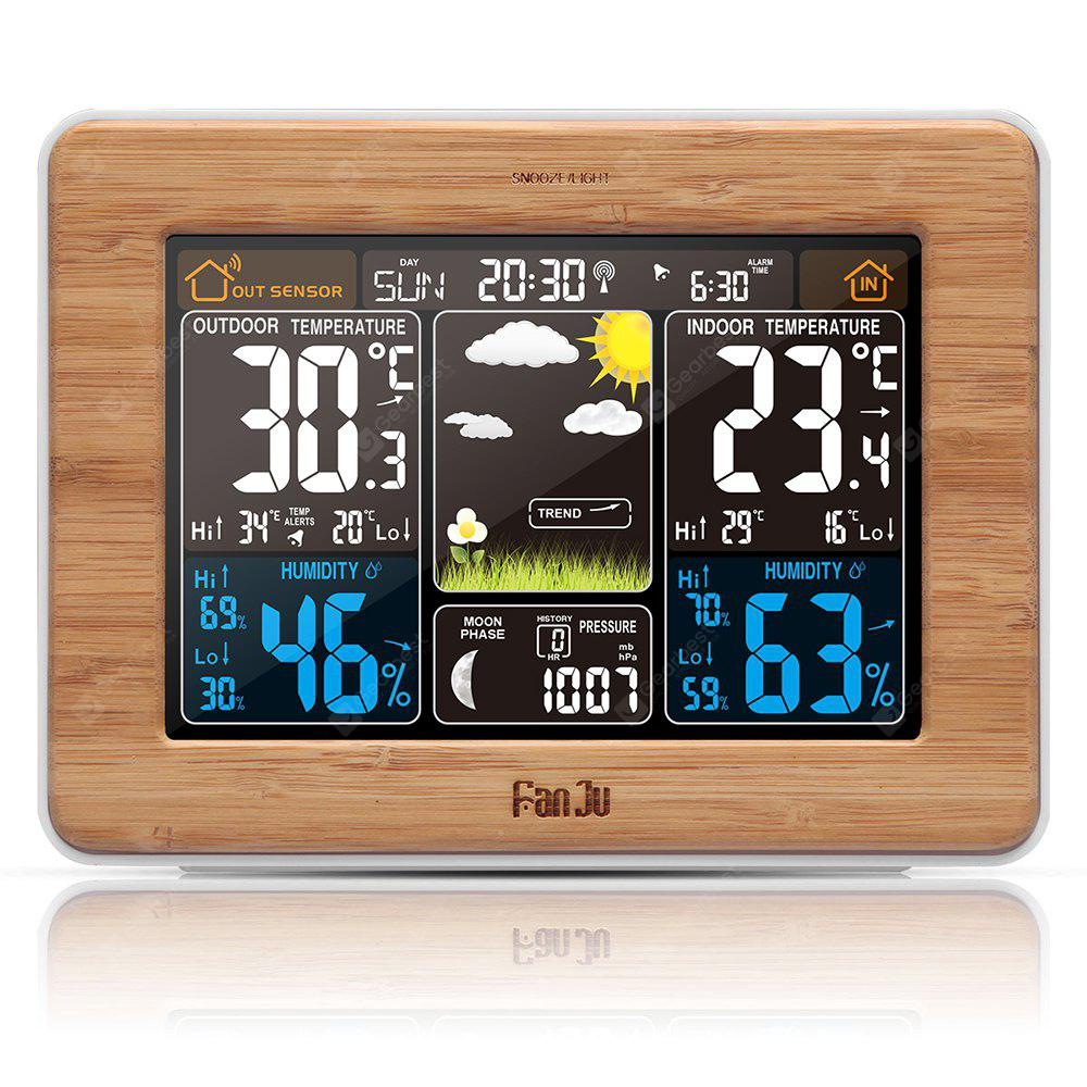 FanJu FJ3365 Weather Station Color Forecast - WOOD