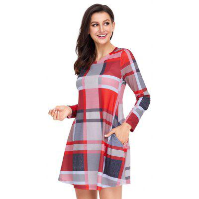 Multicolor Plaid Mini DressMini Dresses<br>Multicolor Plaid Mini Dress<br><br>Dresses Length: Mini<br>Elasticity: Elastic<br>Fabric Type: Cotton and kapok hemp<br>Material: Polyester<br>Neckline: Round Collar<br>Package Contents: 1 X Dress<br>Pattern Type: Plaid<br>Season: Spring, Fall, Winter<br>Silhouette: A-Line<br>Sleeve Length: Long Sleeves<br>Style: Sweet<br>Weight: 0.3020kg<br>With Belt: No