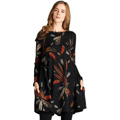 Feather Graphic Pocket Tunic Dress