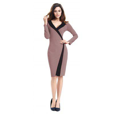 Buy 2018 Simple and Generous and Deep V Collar Dress MOCHA L for $21.89 in GearBest store