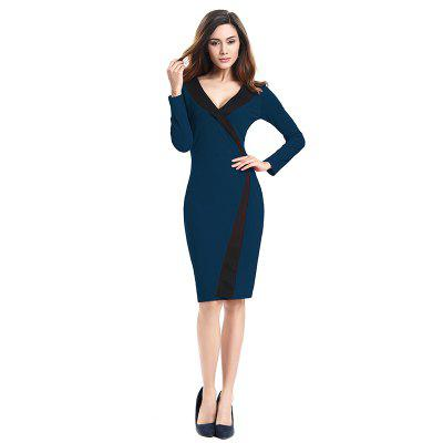 Buy 2018 Simple and Generous and Deep V Collar Dress CERULEAN 2XL for $21.89 in GearBest store