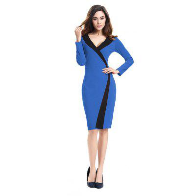 Buy 2018 Simple and Generous and Deep V Collar Dress BLUE L for $21.89 in GearBest store