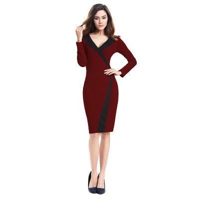 Buy 2018 Simple and Generous and Deep V Collar Dress BURGUNDY L for $21.89 in GearBest store