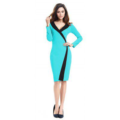 Buy 2018 Simple and Generous and Deep V Collar Dress AZURE 2XL for $21.89 in GearBest store