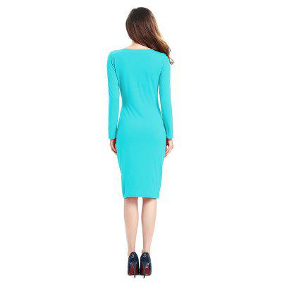 2018 Simple and Generous and Deep V Collar DressSleeveless Dresses<br>2018 Simple and Generous and Deep V Collar Dress<br><br>Dresses Length: Mid-Calf<br>Elasticity: Elastic<br>Fabric Type: Worsted<br>Material: Cotton, Spandex<br>Neckline: Plunging Neck<br>Package Contents: 1x Dress<br>Pattern Type: Patchwork<br>Season: Spring, Summer, Fall, Winter<br>Silhouette: Straight<br>Sleeve Length: Long Sleeves<br>Style: Cute<br>Weight: 0.3000kg<br>With Belt: No