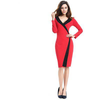 Buy 2018 Simple and Generous and Deep V Collar Dress RED 3XL for $21.89 in GearBest store