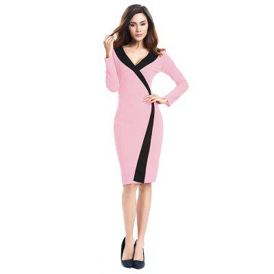 Buy 2018 Simple and Generous and Deep V Collar Dress PINK 3XL for $21.89 in GearBest store