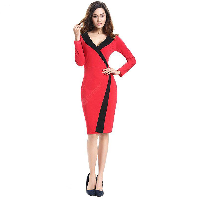 2018 Simple and Generous and Deep V Collar Dress RED 2XL