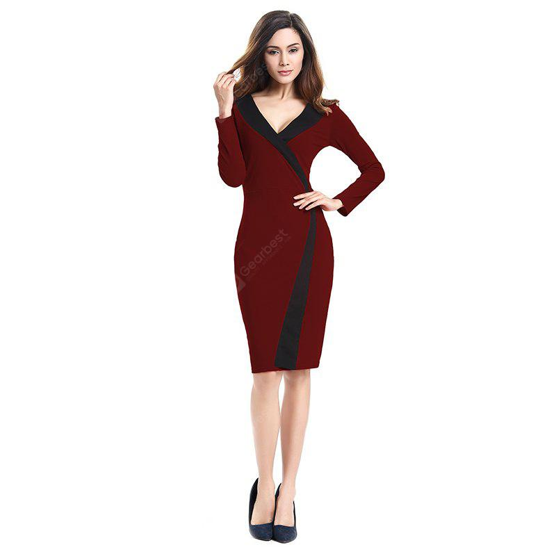 2018 Simple and Generous and Deep V Collar Dress BURGUNDY M