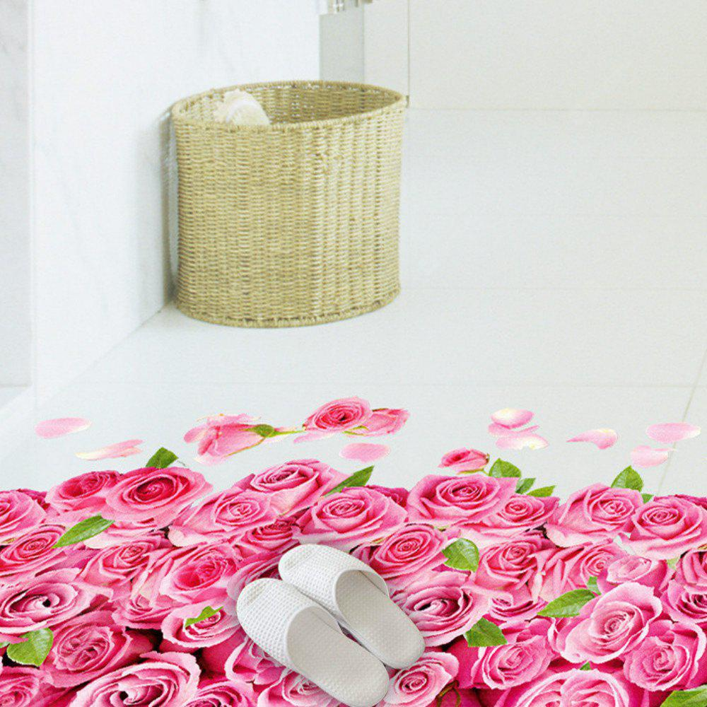 Adesivo per camera da letto Decor Decalcomanie Romantic Love 3D Rose Flower Floor Wall