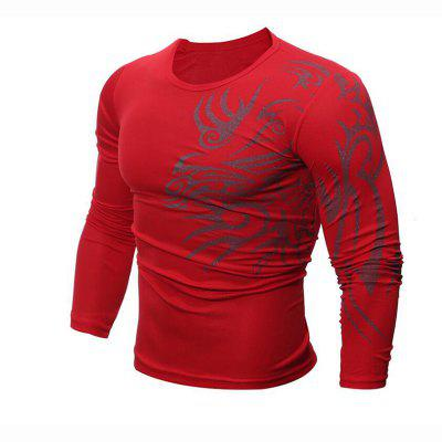 Buy RED L Men's Daily Sports Casual Active Street chic Boho Summer Solid Geometric Print Round Neck Long Sleeves Cotton T-shirt for $22.84 in GearBest store