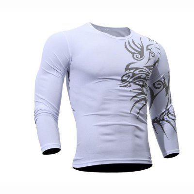 Buy WHITE L Men's Daily Sports Casual Active Street chic Boho Summer Solid Geometric Print Round Neck Long Sleeves Cotton T-shirt for $22.84 in GearBest store