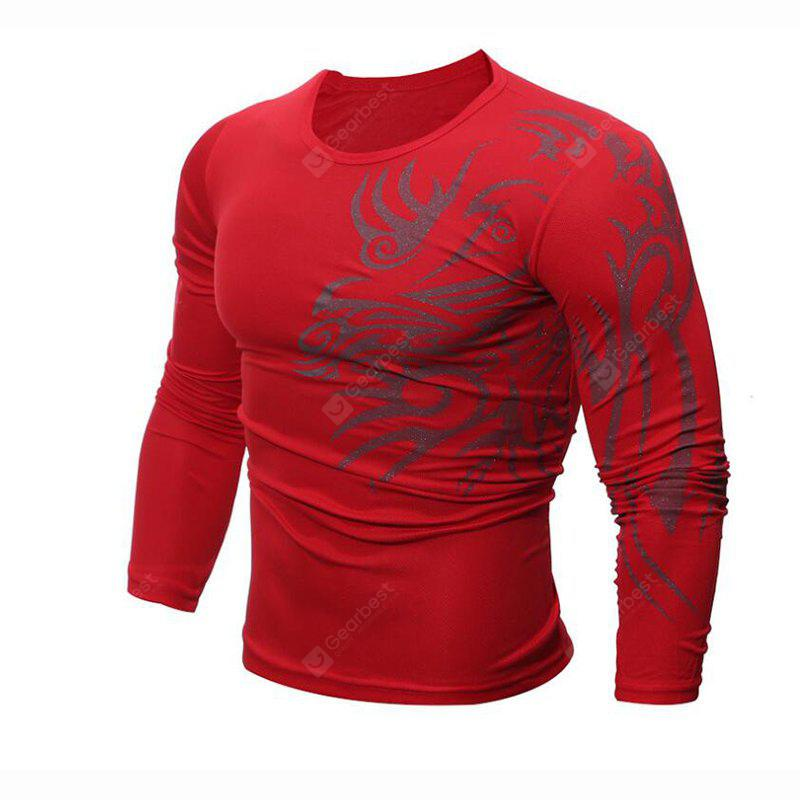 Men's Daily Sports Casual Active Street chic Boho Summer Solid Geometric Print Round Neck Long Sleeves Cotton T-shirt