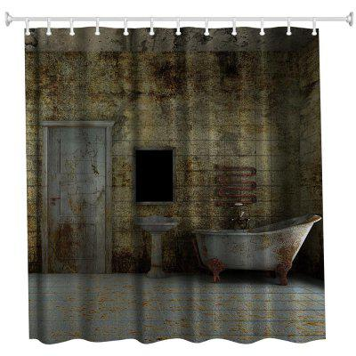 Dilapidated Bathroom Polyester Shower Curtain Bathroom Curtain High Definition 3D Printing Water-Proof