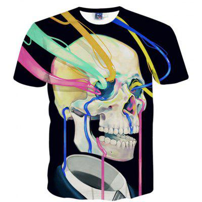 Buy BLACK XL Summer Fashion Creative Skull 3D Digital Printed Short-Sleeved T-Shirt Hot Style for $25.09 in GearBest store