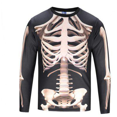 Buy BLACK L Street Fashion Casual Creative Human Skeleton 3D Printed Long Sleeve T-Shirt Hot Style for $27.38 in GearBest store