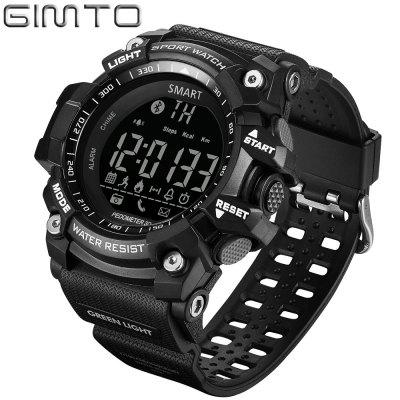 GIMTO Brand Digital Men Sports Watch Military Smart Pedometer Calorie Led Watches Waterproof BluetoothSmart Watches<br>GIMTO Brand Digital Men Sports Watch Military Smart Pedometer Calorie Led Watches Waterproof Bluetooth<br><br>Alert type: Vibration<br>Available Color: Black,Red,Blue,Yellow<br>Band material: Silicone<br>Battery  Capacity: 3000mAh<br>Bluetooth calling: Phone call reminder<br>Bluetooth Version: No<br>Case material: Plastic<br>Compatible OS: IOS, Android<br>Groups of alarm: 3<br>Health tracker: Pedometer,Heart rate monitor,Sleep monitor,Blood Pressure,Blood Oxygen<br>IP rating: IP67<br>Language: English<br>Notification type: Wechat, QQ<br>Operating mode: Press button<br>Other Function: Waterproof, Stopwatch, Luminous Dial<br>Package Contents: 1 x Watch, 1 x English Manual<br>Package size (L x W x H): 27.00 x 5.60 x 2.00 cm / 10.63 x 2.2 x 0.79 inches<br>Package weight: 0.1450 kg<br>People: Male table<br>Product size (L x W x H): 25.50 x 5.40 x 1.80 cm / 10.04 x 2.13 x 0.71 inches<br>Shape of the dial: Round<br>Standby time: One year<br>Type of battery: CR2032<br>Waterproof: Yes