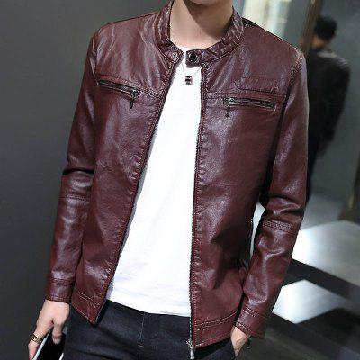 Autumn and Winter MenS Fashion Jacket Handsome Leather Coat Keeping Warm and Pure Color CoatMens Jackets &amp; Coats<br>Autumn and Winter MenS Fashion Jacket Handsome Leather Coat Keeping Warm and Pure Color Coat<br><br>Closure Type: Zipper<br>Clothes Type: Leather &amp; Suede<br>Collar: Stand Collar<br>Colors: Black,Red,Blue,Yellow<br>Detachable Part: None<br>Hooded: No<br>Materials: Polyester, PU, Cotton<br>Package Content: 1?coat<br>Package size (L x W x H): 1.00 x 1.00 x 1.00 cm / 0.39 x 0.39 x 0.39 inches<br>Package weight: 0.8000 kg<br>Pattern Type: Solid<br>Size1: M,L,XL,2XL,3XL<br>Style: Fashion<br>Technics: Other<br>Thickness: Medium thickness